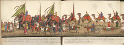 A panorama in 12 folds showing the procession of the Emperor Bahadur Shah to celebrate the feast of the 'Id. f. 59v-A